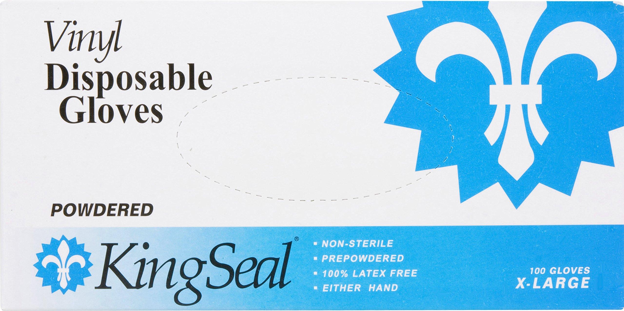 KingSeal Vinyl Disposable Gloves, Powdered, 4 mil, Clear, Medium, 10 bx/100 per Case