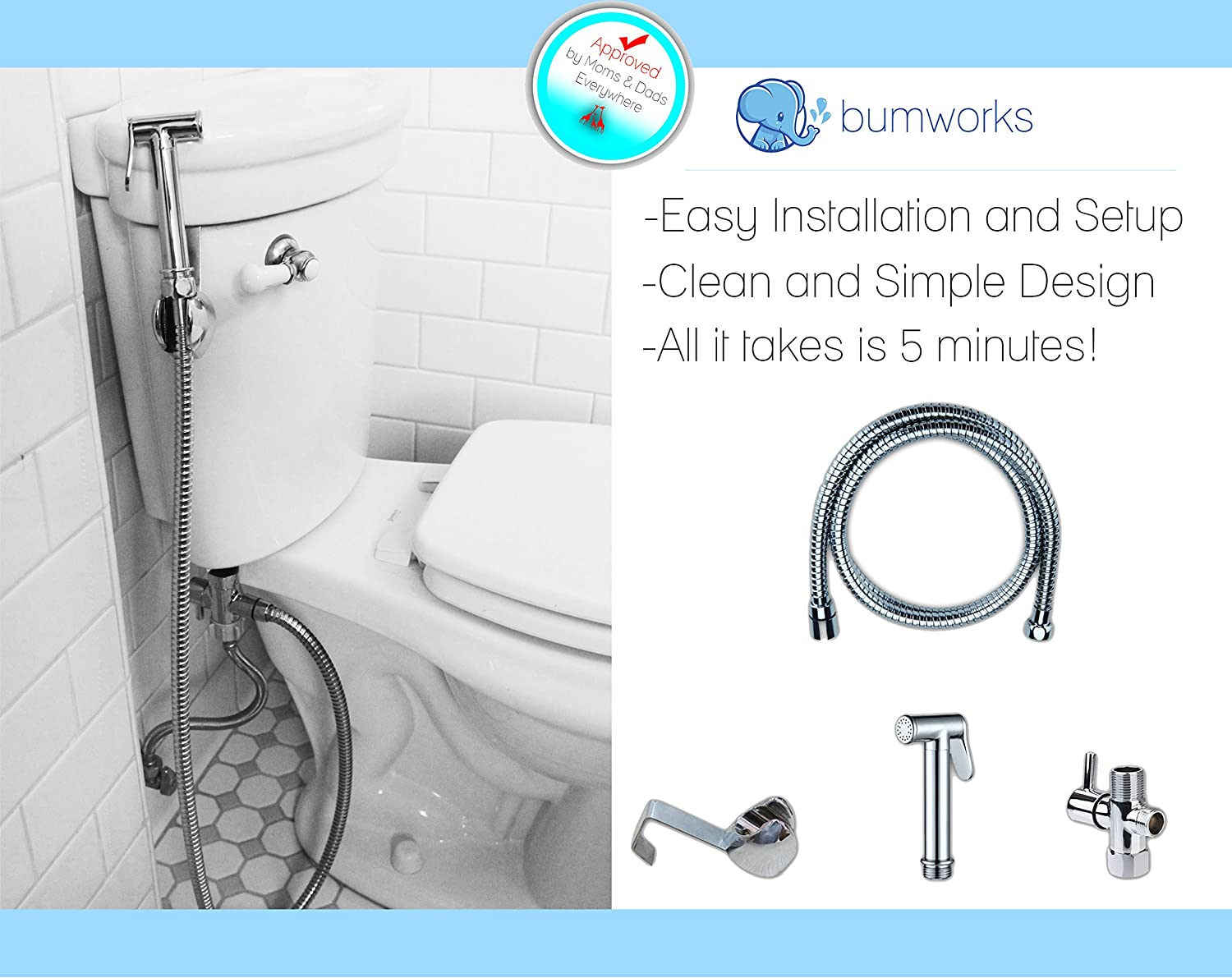 Bumworks Cloth Diaper Toilet Sprayer Kit - Brass Chrome Hand Held Bidet w/Metal Hose, T-Valve (7/8 inch), and Mounting Clip Attachment Adapter (3 Way T-Valve) Kaydee Baby