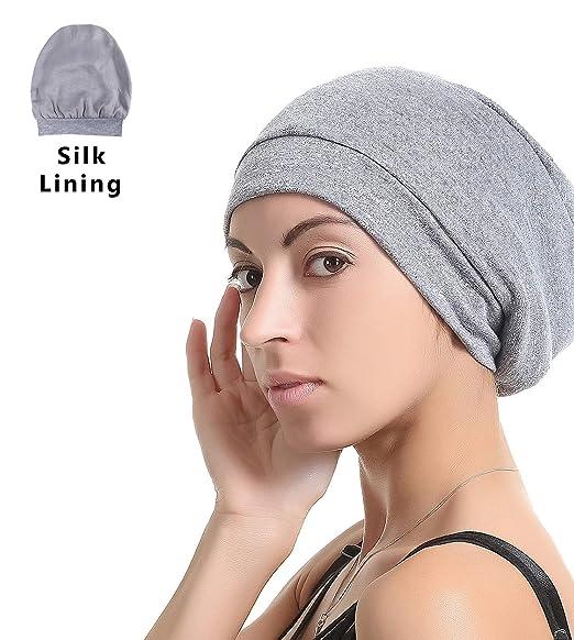 a8281fff71b Slap Night Cap Sleep Hat -Navy Blue Chemo Women Organic Bamboo Cotton Satin  Silk Satun