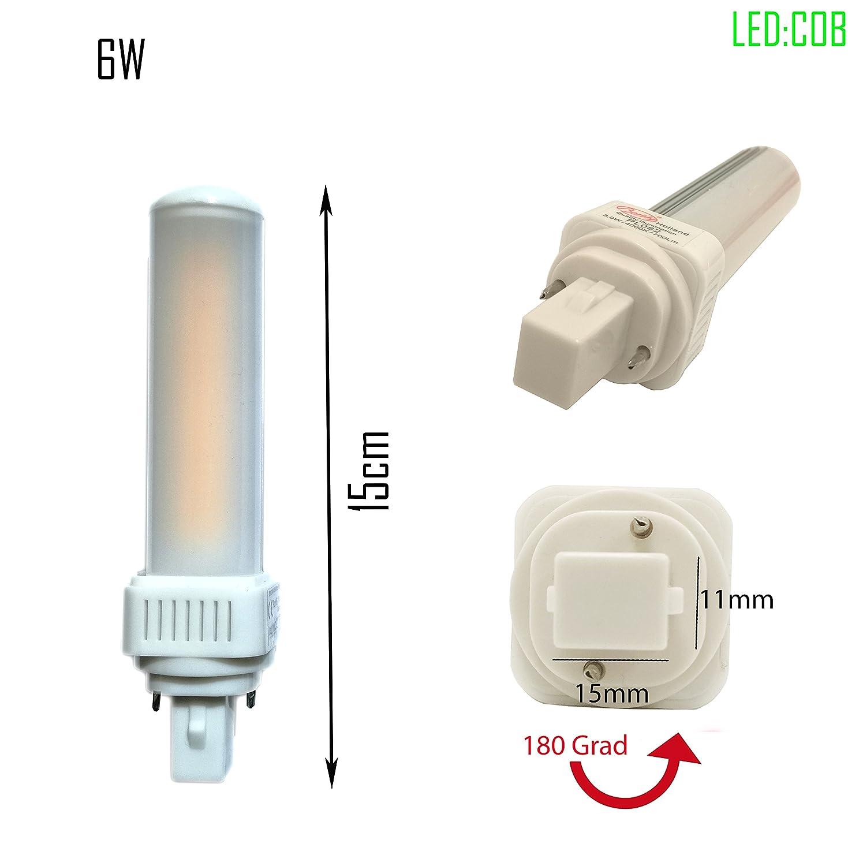 6er LED G24d PL C pin2 Leuchtmittel PL-C 6W 4000K Universal ersetzt Osram G24d-2 DULUX ersetzt Osram G24d-2 DULUX ersetzt Philips MASTER PL-C 2Pin G24d /Φ33 COB