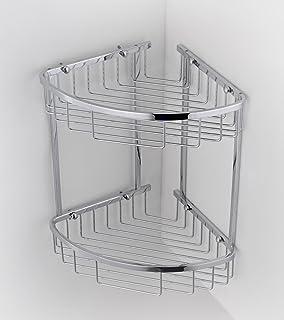 Double Corner Wire Shower Caddy Shelf Basket Rack Soap Shampoo Organiser
