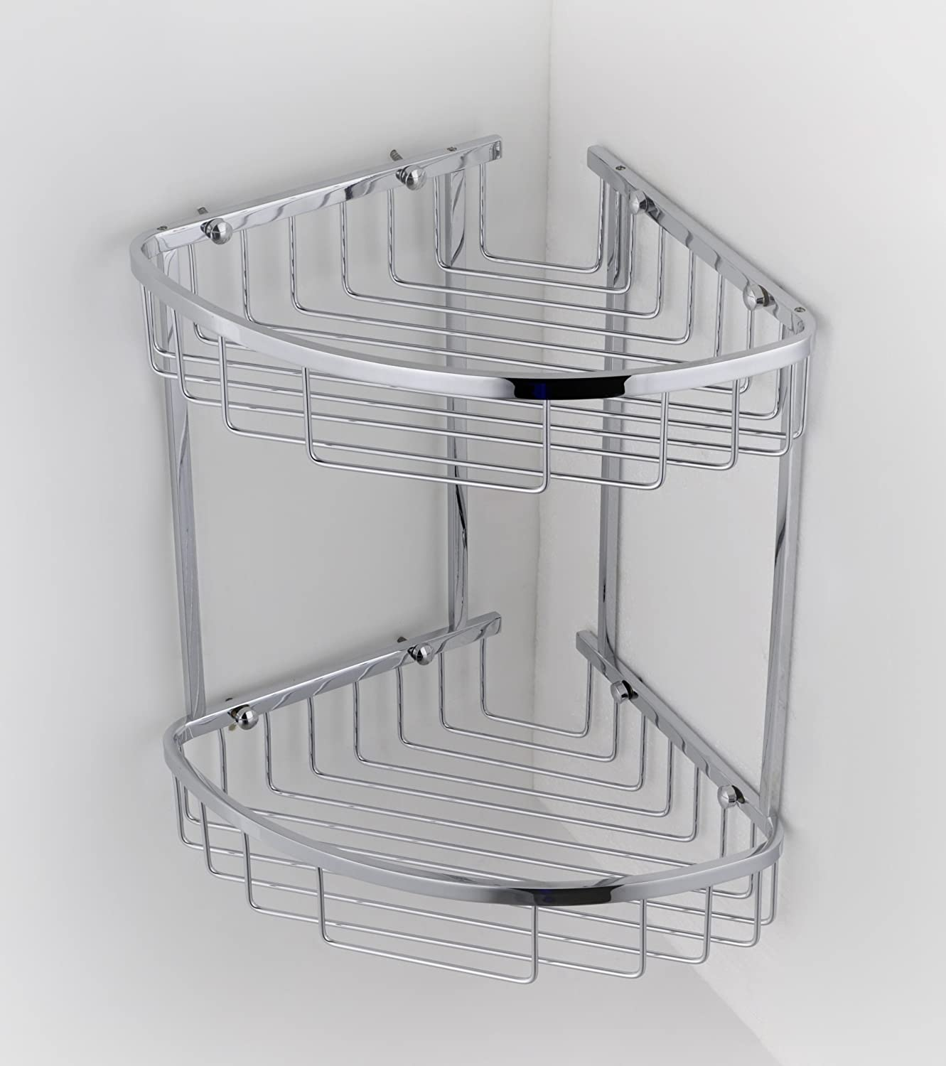 Double Corner Wire Shower Caddy Shelf Basket Rack Soap Shampoo ...