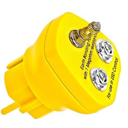 Minadax® Erdungsbaustein - EBP - Innovativer ESD-Schutz - Antistatik Erdungsstecker Schutzkontaktstecker - 1 x M5 Ösenanschlu