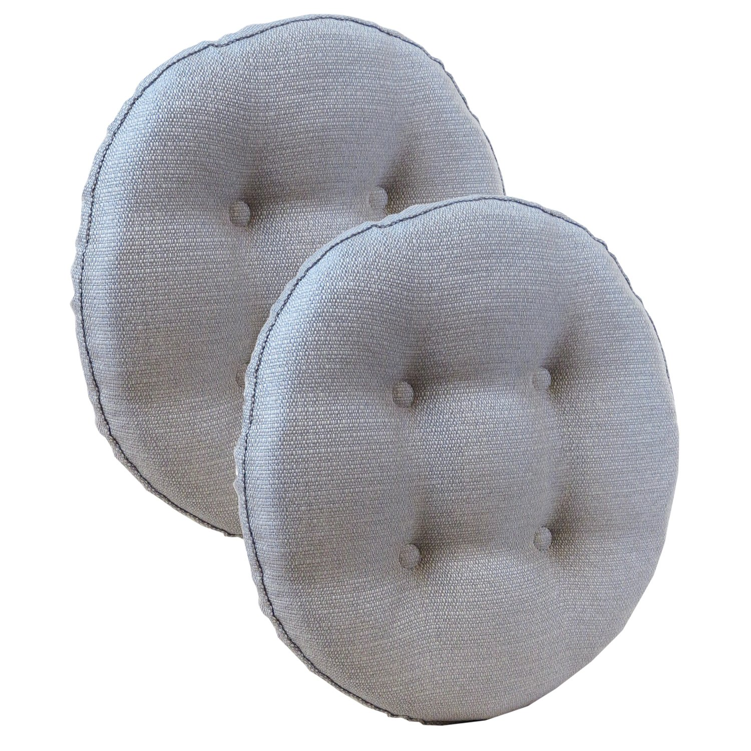 Klear Vu Omega Gripper Non-Stick Round Fabric Pads, 14'' x 14'', Set of 2 Barstool Cushions, Gray