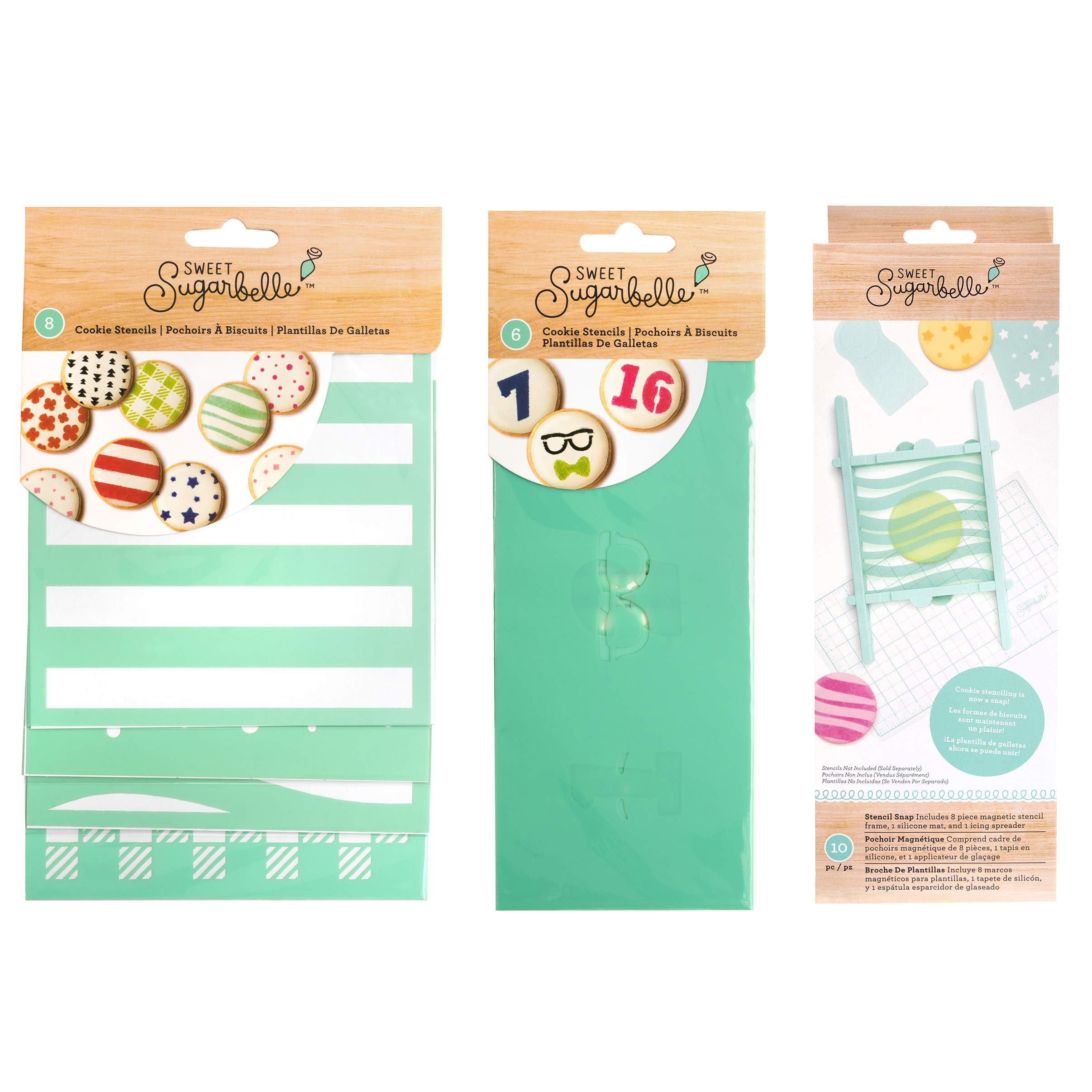 Sweet Sugarbelle Cookie Stencils and Stencil Snap Holder Frame - Patterns, Expressions, and Numbers Design Templates for Decorating and Baking (14 Sheets) by Sweet Sugarbelle (Image #1)