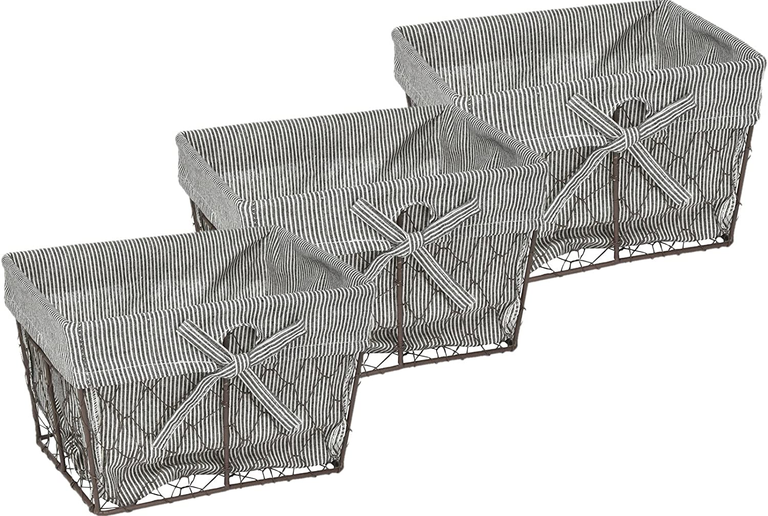 DII COMINHKPR137416Vintage Chicken Wire Baskets for Storage Removable Fabric Liner, Set of 3, Stripes, 3 Piece