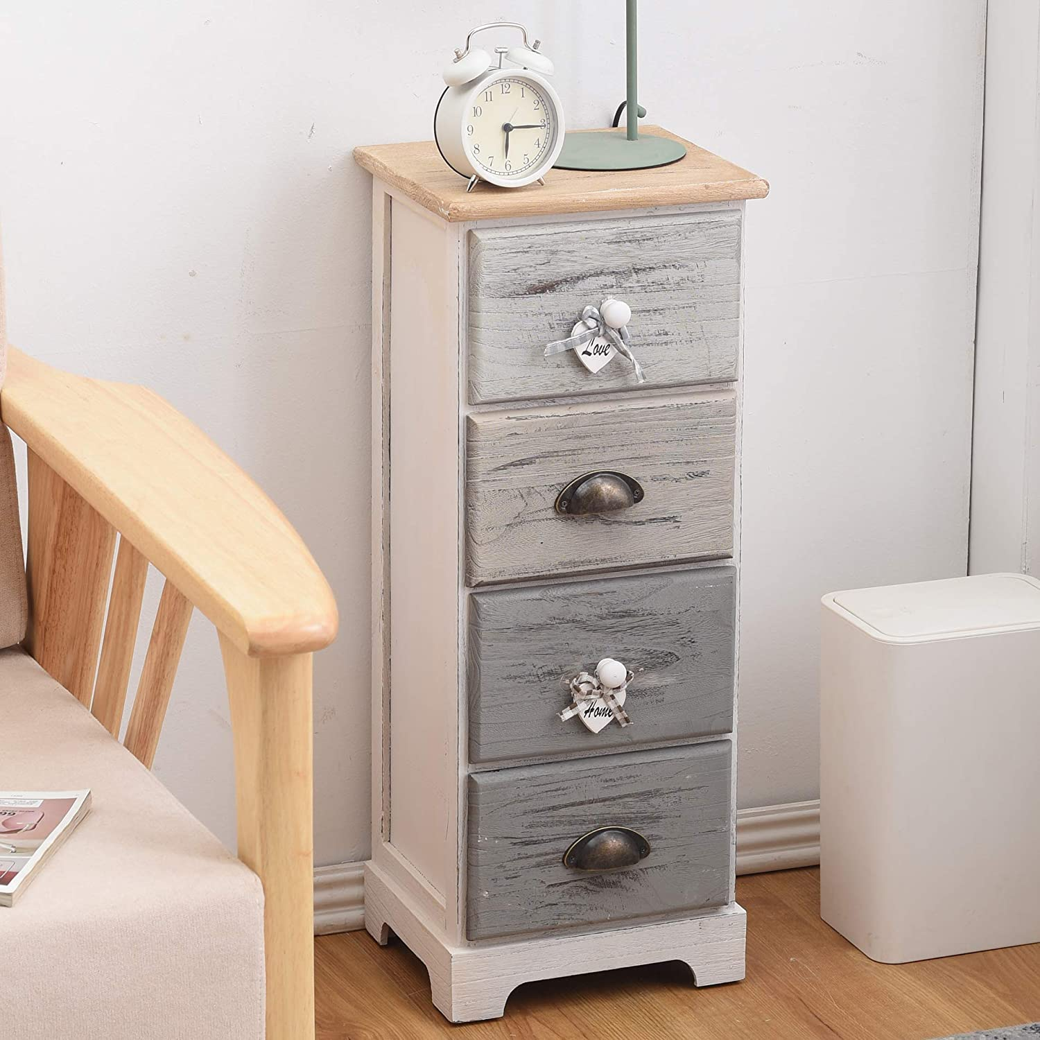 74 x 29 x 24,5 cm H x W x D - Art Rebecca Mobili Chest of Drawer 4 Drawers Paulownia Wood White Blue Shabby Gray Seagoing Style Bedroom Bathroom RE4482