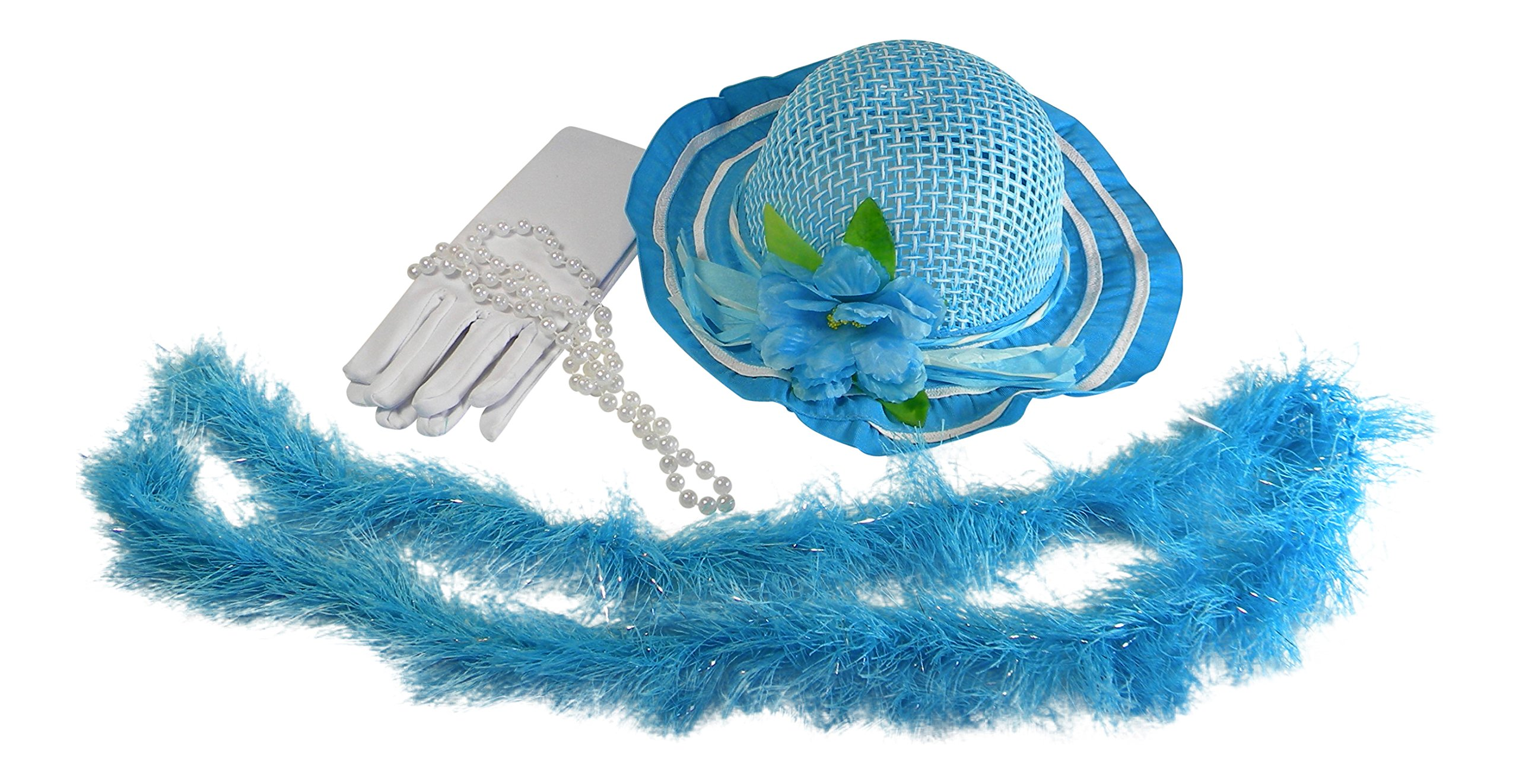 Butterfly Twinkles Girls Tea Party Dress Up Play Set with Blue Sun Hat, Boa, Plastic Pearl Necklace, and White Gloves