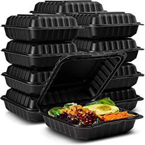 "Eco-Friendly Meal Prep Containers [50-Pack 8x8x3""] Disposable to go Clamshell Food Containers Secure Snap Hinged Lid 1-Compartment, Microwave Safe Take Out Lunch Boxes, Made from Renewable Materials"