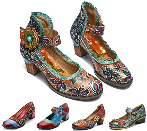 c17cde51337b5a Camfosy Vintage Mary Jane Schuhe mit Absatz