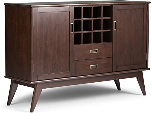 Simpli Home Draper SOLID HARDWOOD 54 inch Wide Mid Century Modern Sideboard Buffet and Winerack in Medium Auburn Brown