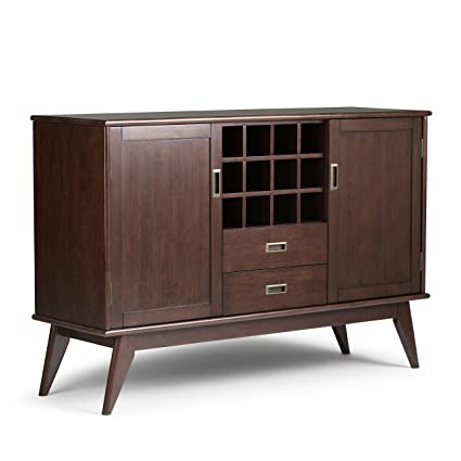 Simpli Home 3axcdrp 10 Draper Solid Hardwood Mid Century Sideboard Buffet And Winerack In Medium Auburn Brown