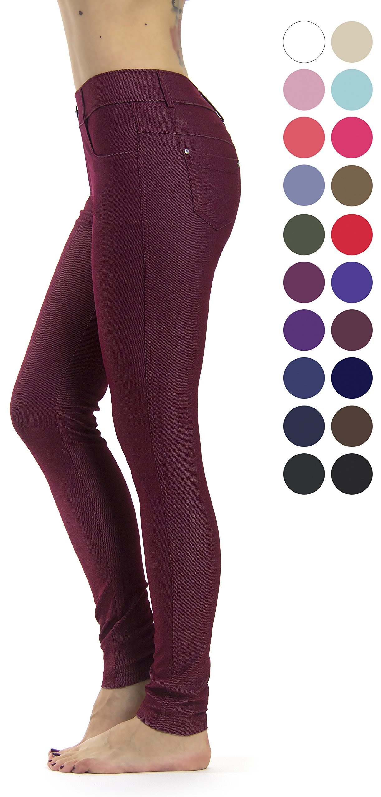 Prolific Health Women's Jean Look Jeggings Tights Slimming Many Colors Spandex Leggings Pants S-XXXL (Large, Burgundy)