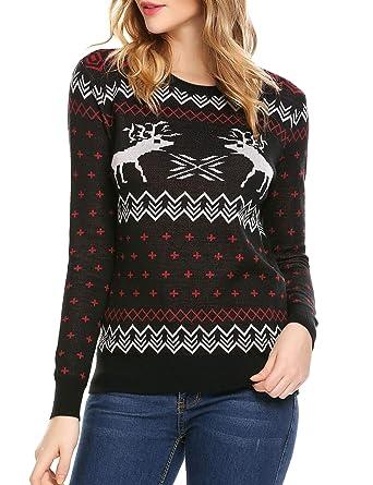 f52c4f6430fb SoTeer Womens Christmas Sweater Reindeer Snowflakes Long Sleeve ...