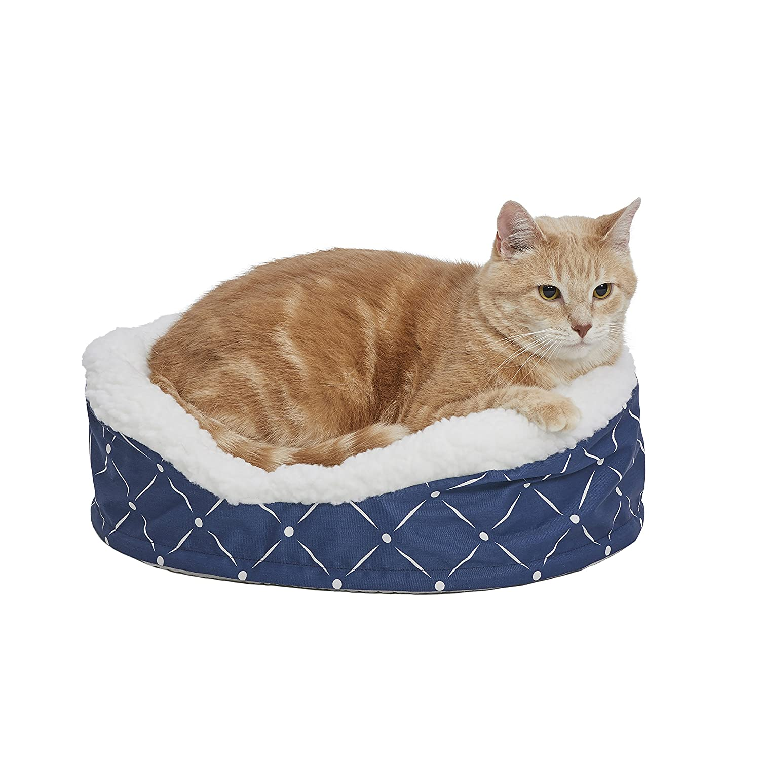 bluee  White Diamond Pattern XSMidwest Homes for Pets CU36MRD Couture Orthopedic Cradle Pet Bed, Mushroom White Diamond Pattern, Intermediate