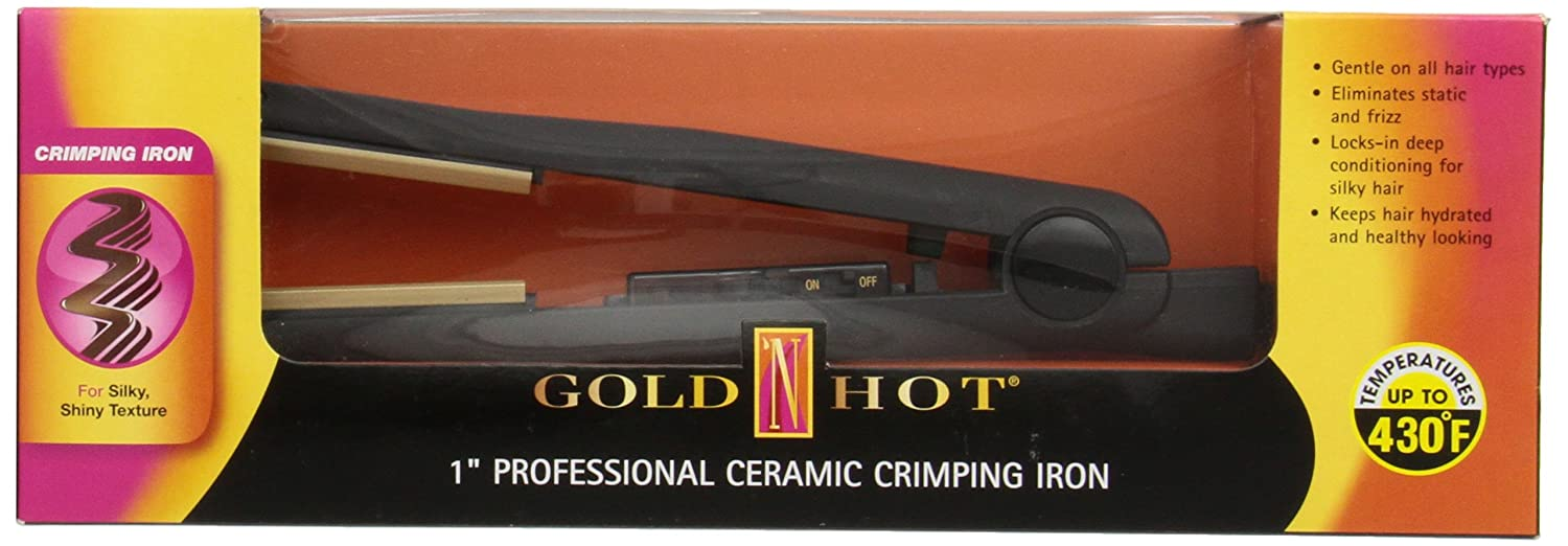 Gold N' Hot GH3010 Professional Ceramic Crimping Iron, 1 Inch Gold N' Hot