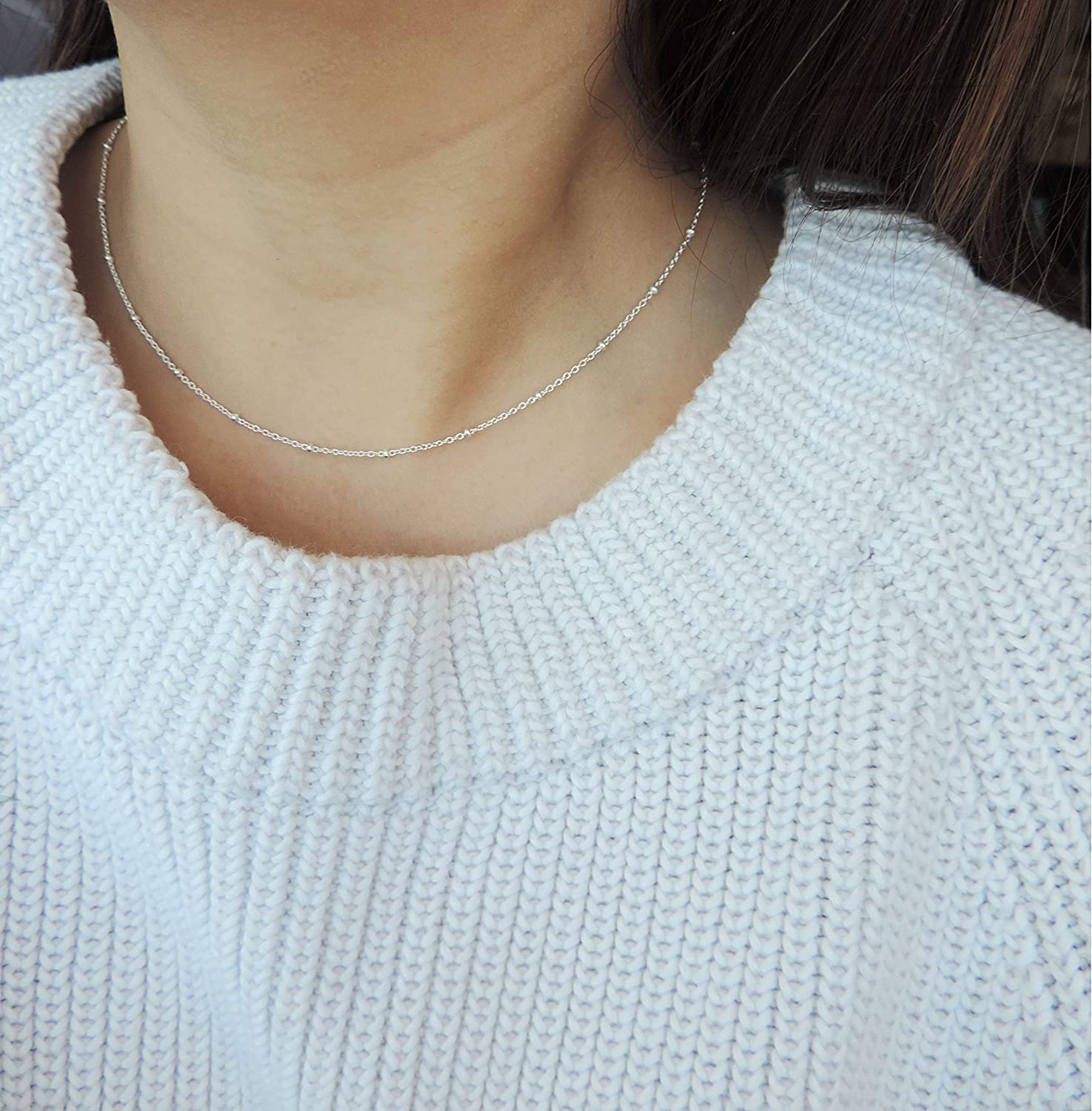 Satellite Necklace 18 Sterling Silver Nice! looks like white gold finish Rhodium Plated to prevent tarnish CHN010