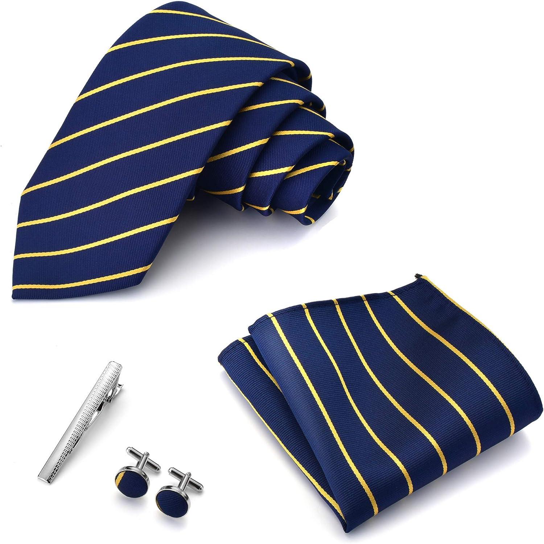 WOTENCE Juego de Corbatas de Para Hombre(Pañuelo Gemelos Clip de Corbata Corbatas) Adecuados Para Bodas, Regalo de Cumpleaños, el Día Del Padre, Navidad o el Día de San Valentín.