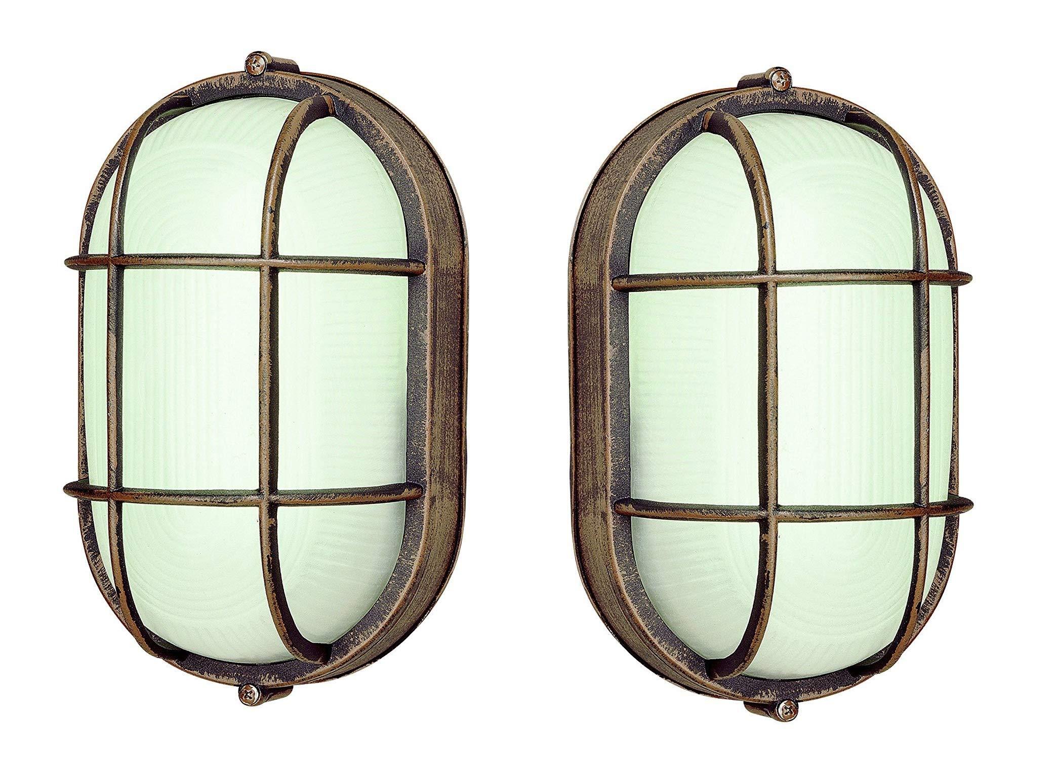 Trans Globe Lighting Outdoor Aria 8.5'' Bulkhead, Rust - 2 Pack