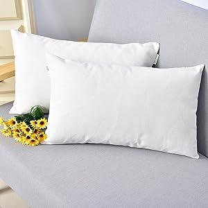 NATUS WEAVER Breathable Linen Burlap Decor Oblong Throw Cushion Cover Pillow Sham for Living Room, 12 x 18 Inches,2 Packs, White