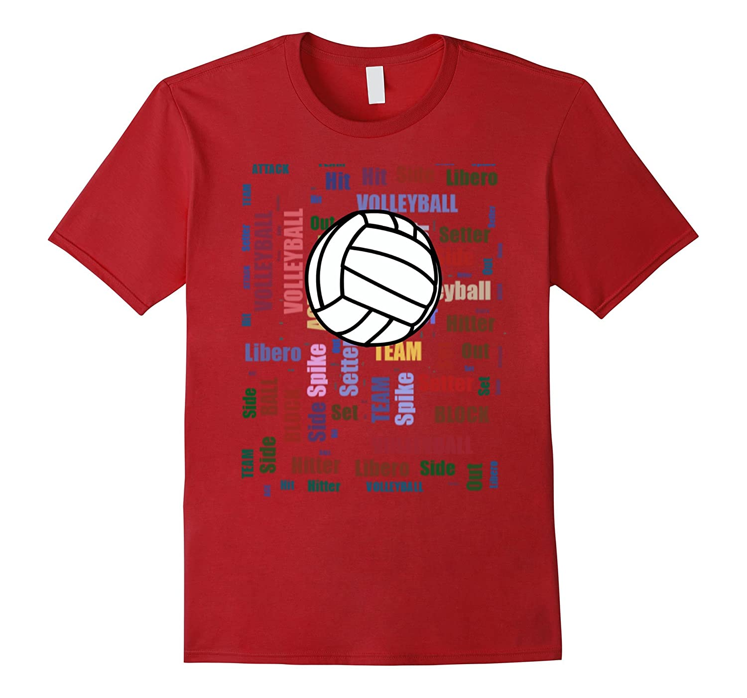 Cool Volleyball Shirt with Word Cloud Volleyball Terms TEE-TH