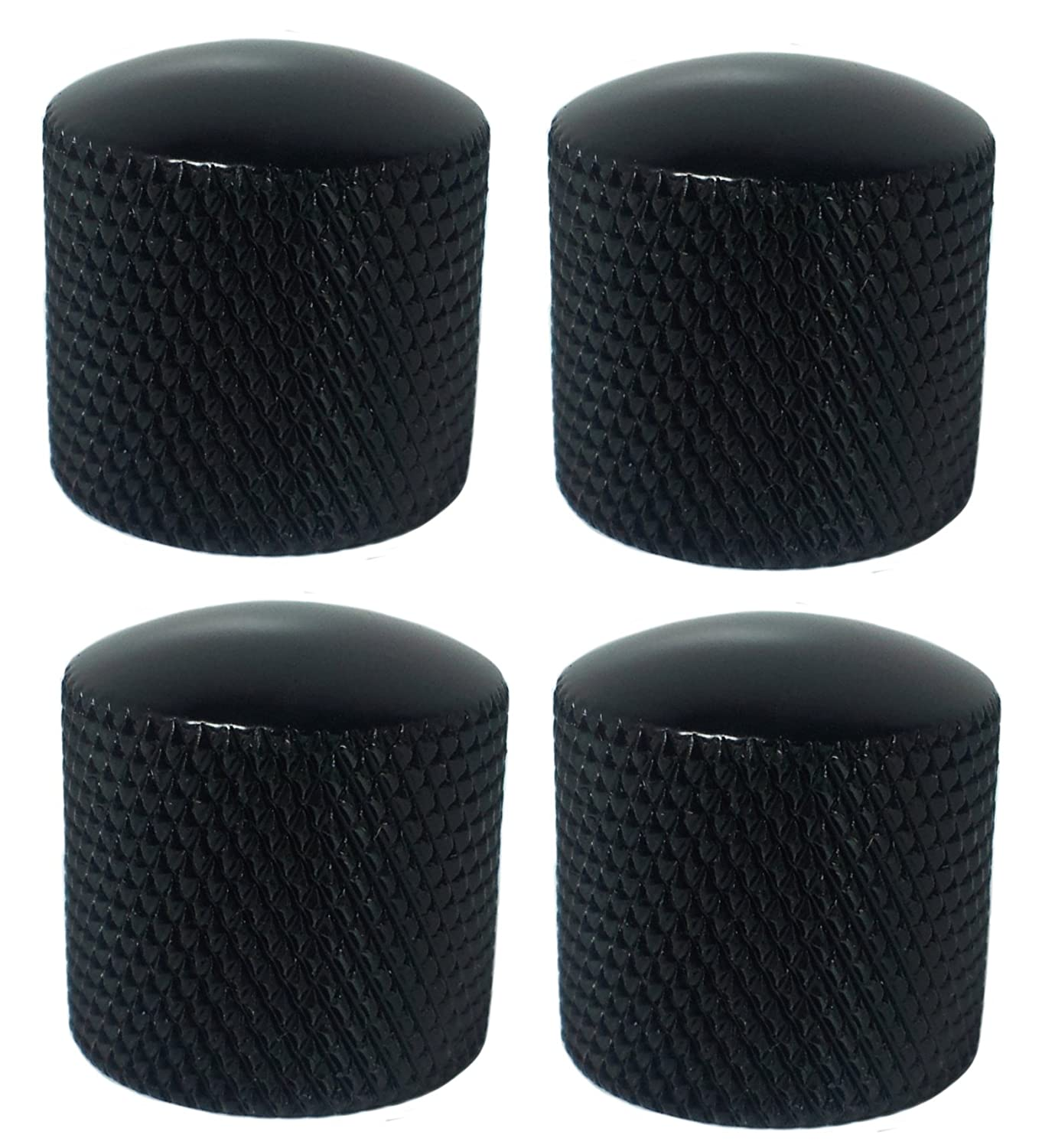 Polished Metal For Bass or Guitar Set of 4 Black Dome Knobs