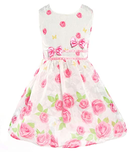 33edc6837120 Little Girls Dresses Sweet Roses Floral Print Dress with Bowknot Sleeveless  Casual Dress Clothes for Toddler