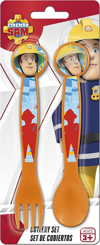Unbranded 8018203 Sam Le Pompier Set de 2 Couverts 22 x 9 x 1,5 cm Orange Plastique