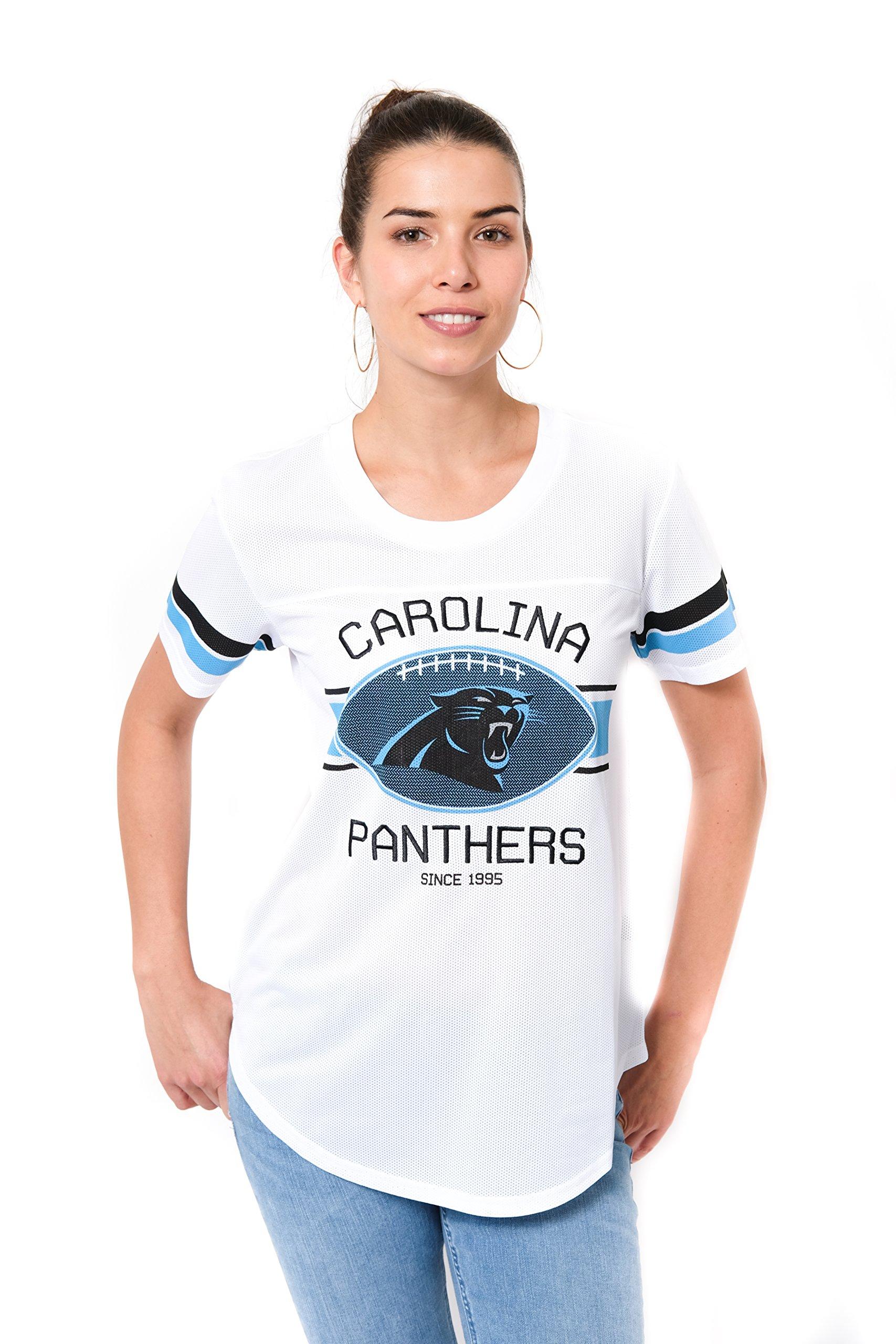 Ultra Game NFL Carolina Panthers Women's Jersey T Mesh Varsity Stripe Tee Shirt, White, Medium