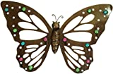 Large Butterfly Dark Metal Wall Art with Multicoloured Glass Bead Decor