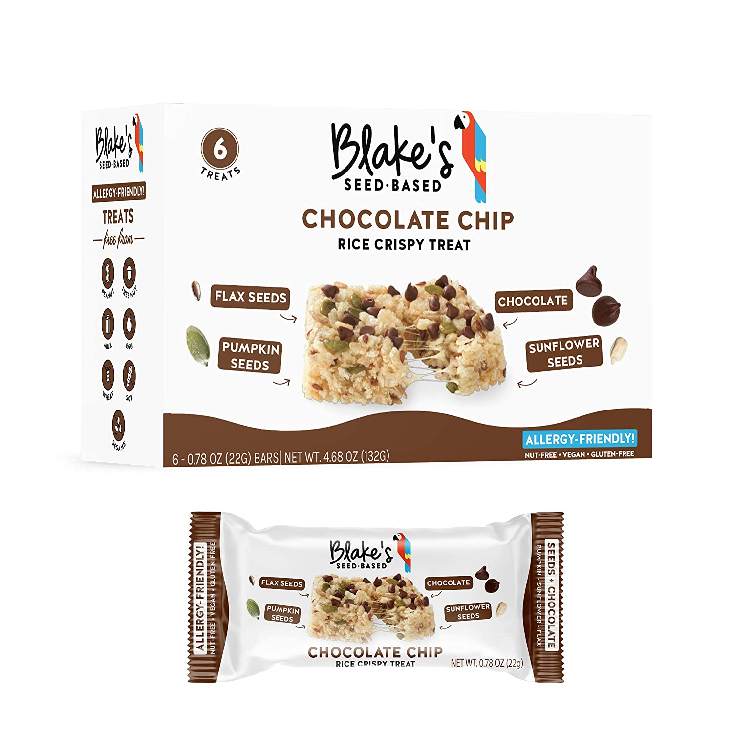 Blake's Seed Based Rice Crispy Treats, Chocolate Chip Flavor, 18 count, Top 8 Allergy Free, Vegan, Nut Free, Gluten Free, 3 Boxes of 6 Bars Each
