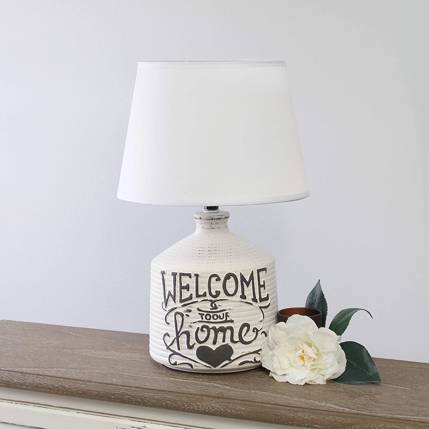 Simple Designs LT1066-HME Welcome Home Ceramic Farmhouse Table Lamp