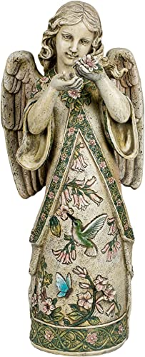 Roman Garden Collection Resin Angel Standing Wearing a Gown Embossed