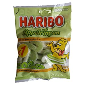 Haribo Apple Rings l Green Apple Candy | Apple Rings | Haribo Sour Candy | Bag of 5.29 Ounce