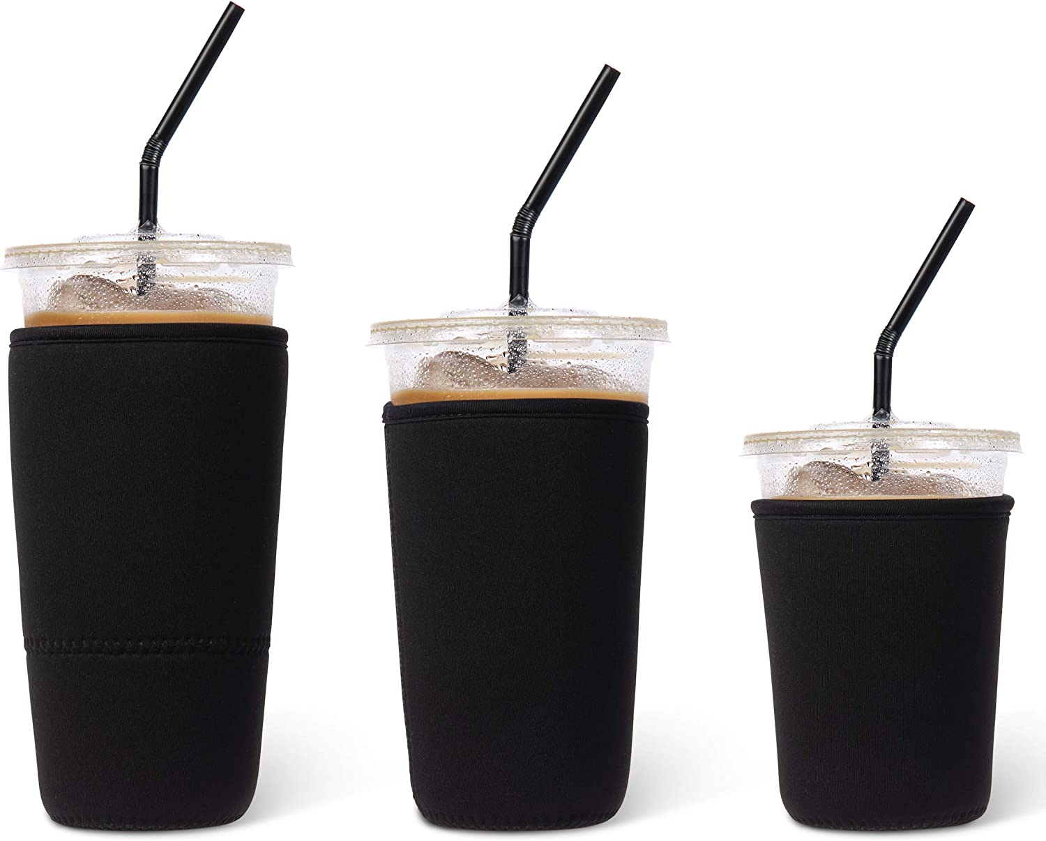 Iced Coffee Cup Sleeve [3 Pack]   Reusable Neoprene Insulator for Cold Beverages   Cold Drink Cup Holder for Starbucks, McDonalds, Dunkin, Smoothies, Fountain Drinks   Black, Set of S/M/L