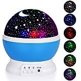 AIZESI Star Night Light Projector Bedtime Lights for Bedroom Wall Light Lamps for Girls Kids Christmas present Battery (BLUE)