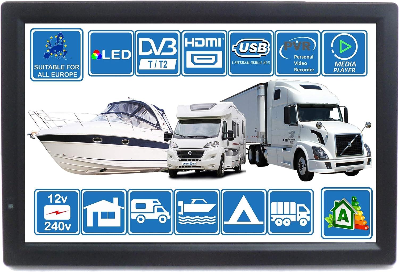 Autocaravana Caravana Barco Cocina 12 voltios 14 Pulgadas LED TV Digital HD DVB-T2. TDT y Toda la televisión de Europa. 12V 230V USB PVR y Reproductor Multimedia, Monitor CCTV HDMI de Unispectra®