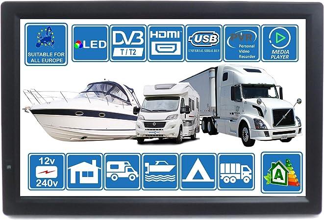 Autocaravana Caravana Barco Cocina 12 voltios 14 Pulgadas LED TV Digital HD DVB-T2. TDT y Toda la televisión de Europa. 12V 230V USB PVR y Reproductor ...