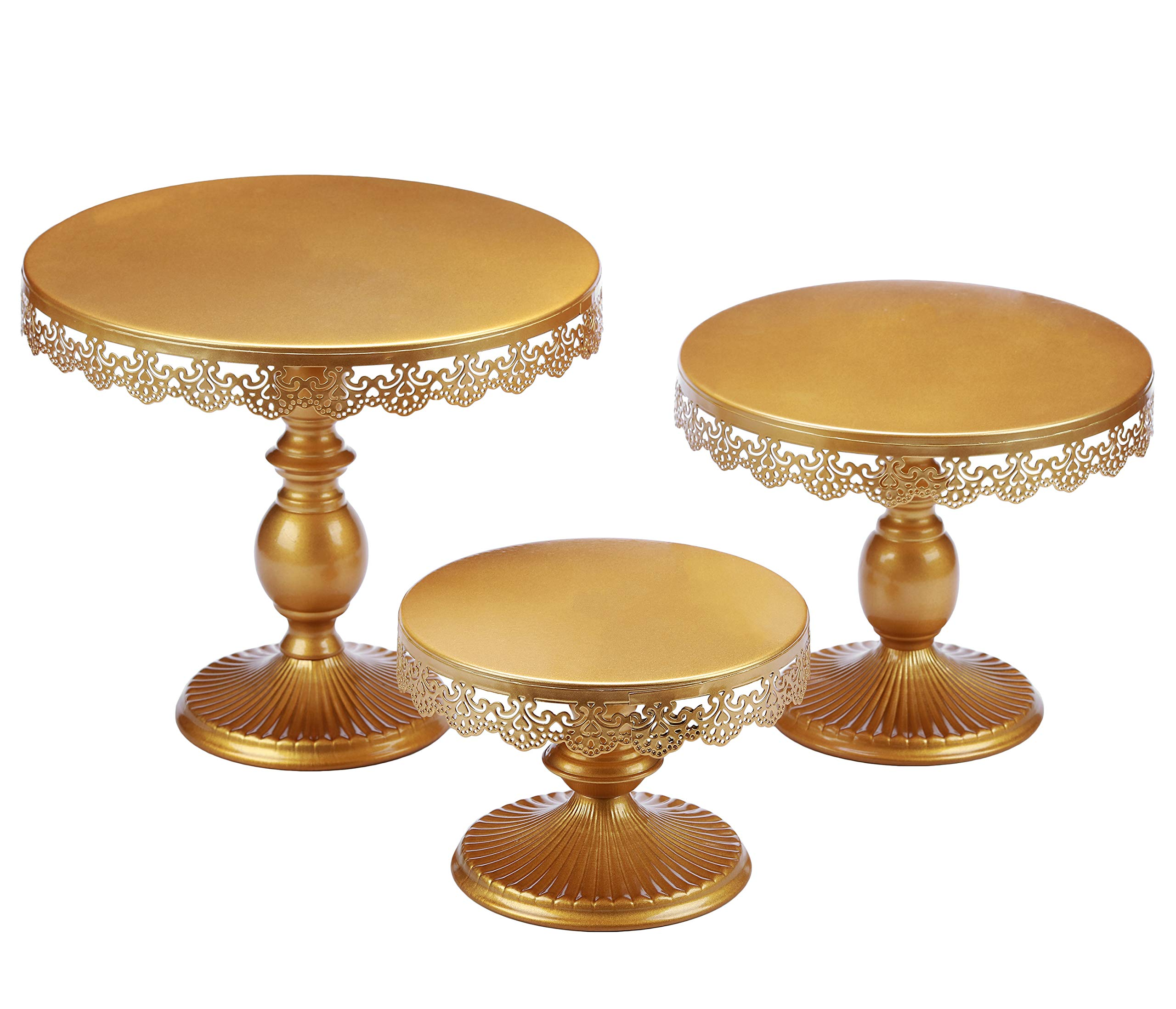 VILAVITA Set of 3 Cake Stands Round Cupcake Stands Metal Dessert Display Cake Stand, Gold