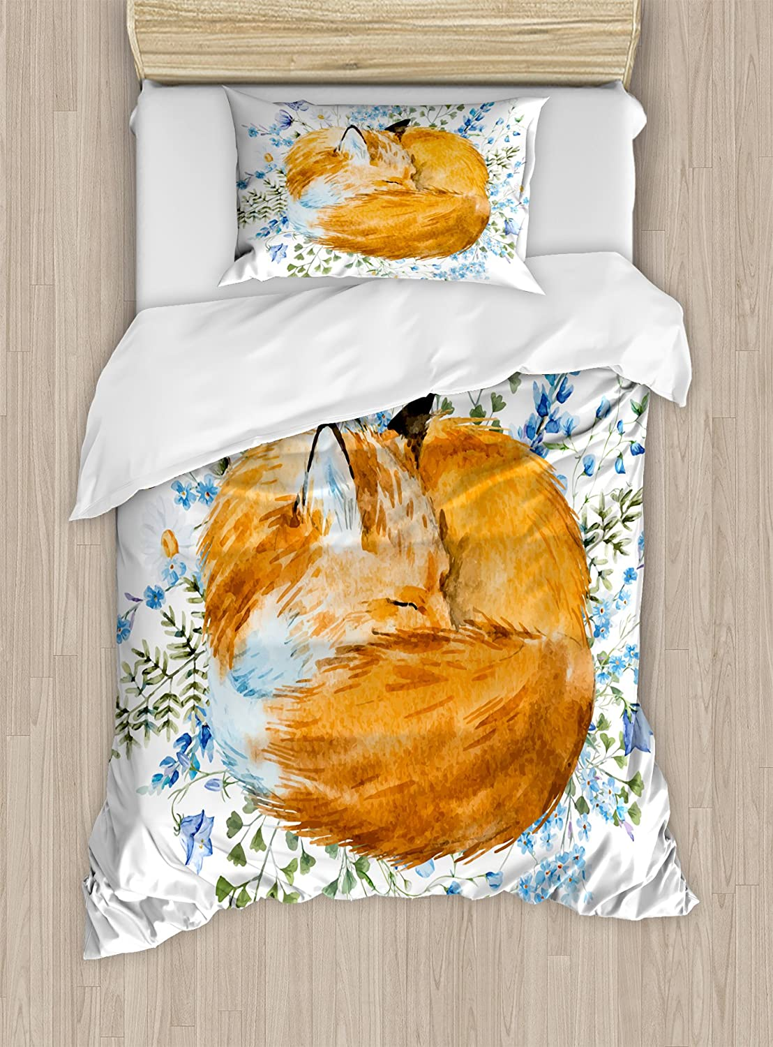 Ambesonne Fox Duvet Cover Set, Sleeping Fox in Watercolors Hand Drawn Fresh Wild Flowers Blossoms Artwork, Decorative 2 Piece Bedding Set with 1 Pillow Sham, Twin Size, Olive Green