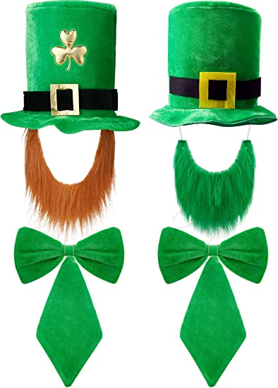 2X FANCY DRESS IRISH LEPRECHAUN ST PATRICKS DAY GREEN VELVET HAT WITH BEARD