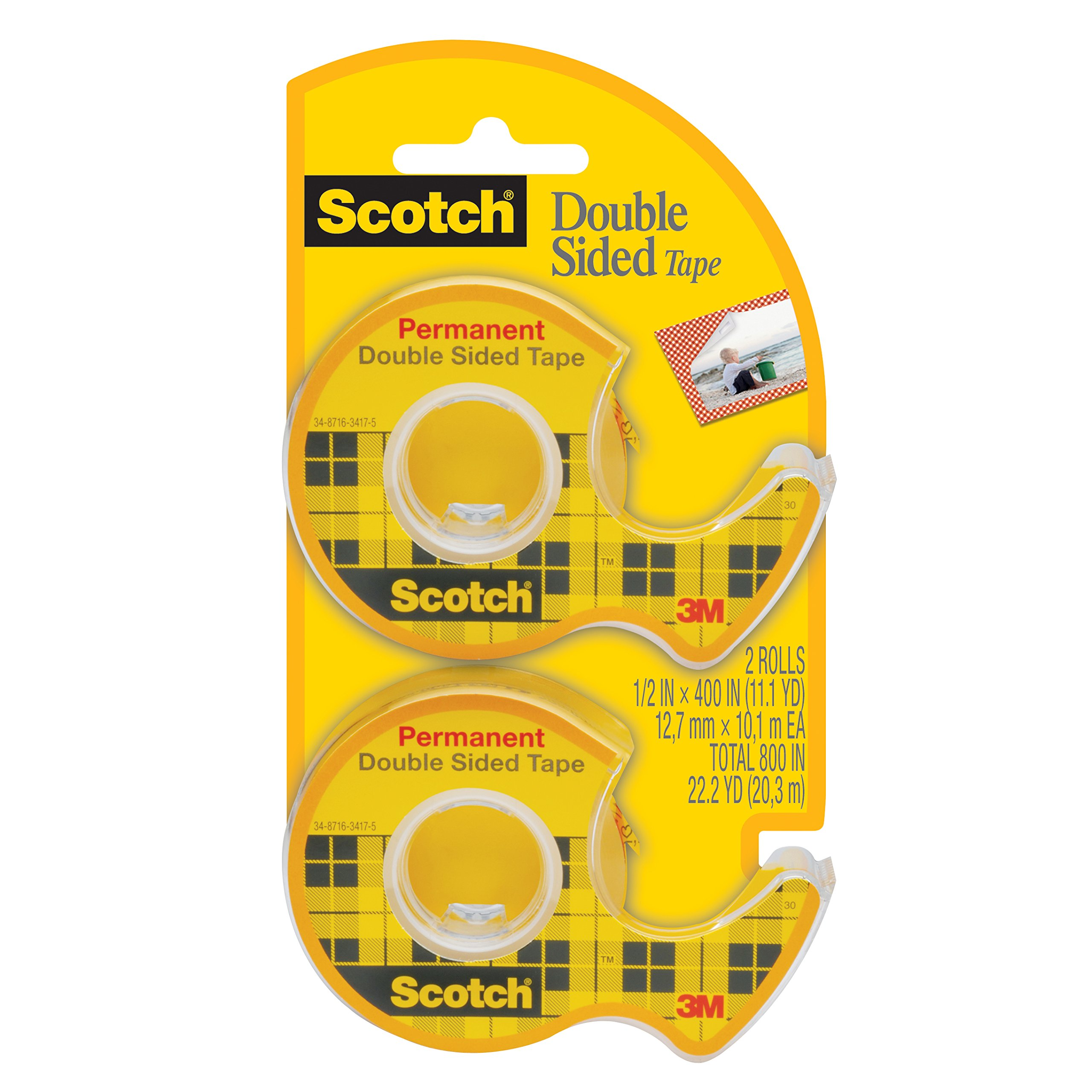 Scotch Double Sided Tape with Dispenser, Narrow Width, Engineered for Office and Home Use