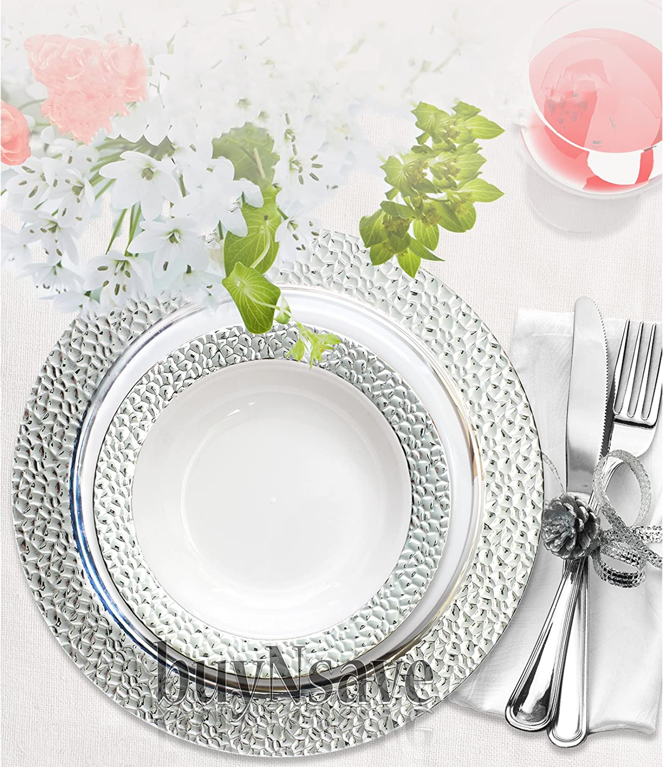 Get Info \u0026 Reviews buyNsave Clear with Silver Heavyweight Plastic Elegant Disposable Plates Wedding Party Elegant Dinnerware Hammered  sc 1 st  Finderists : elegant plastic wedding plates - pezcame.com