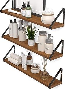 Wallniture Ponza Wood Floating Shelves for Wall Bathroom Decor, 24 Inch Bathroom Shelves Wall Mounted Set of 3, Walnut
