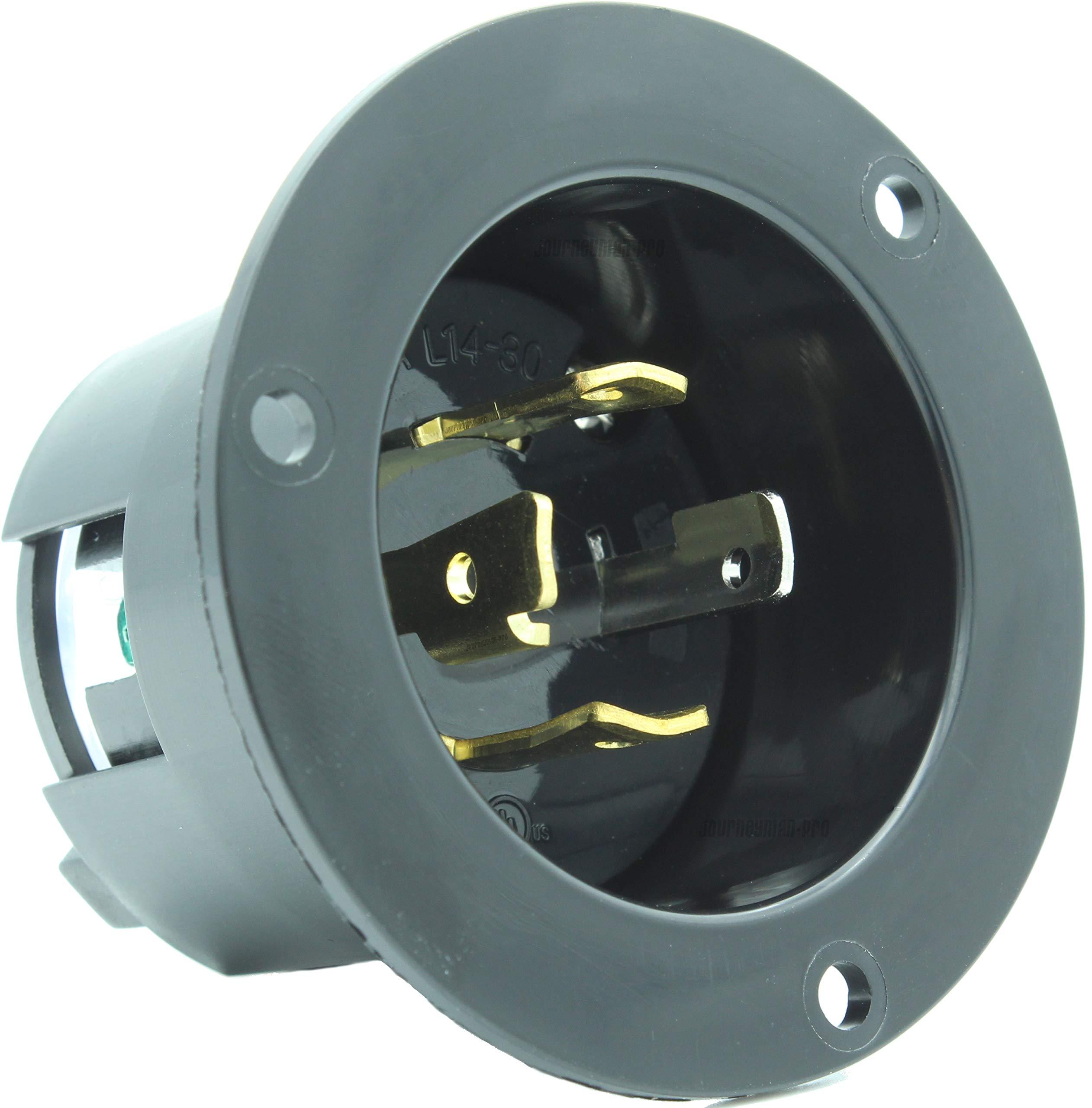 journeyman-pro 2715, nema l14-30 flanged inlet generator plug, 30a 125/250  volt, locking receptacle socket, black industrial grade, grounding welding  use