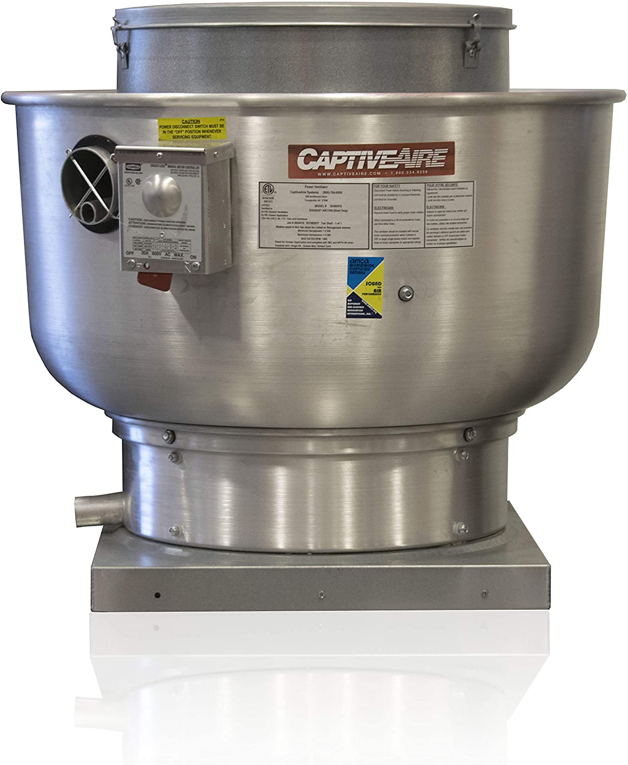 Restaurant Canopy Hood Grease Rated Exhaust Fan- Belt Drive Centrifugal Upblast Exhaust Fan- 21