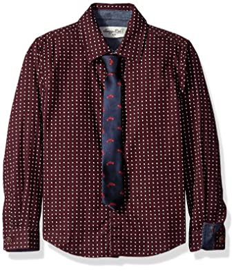 ed15cbb34 Sovereign Code Boys Polka Dot Long Sleeve Button Up with Printed Tie,  Burgundy/Navy