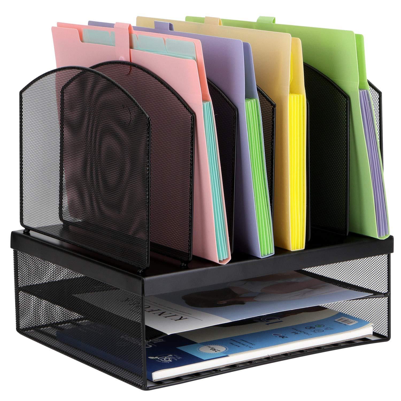 TOROTON File Documento Cestino File Organizer Carta Rack Per Ufficio Storage Acciaio Inox Nero E