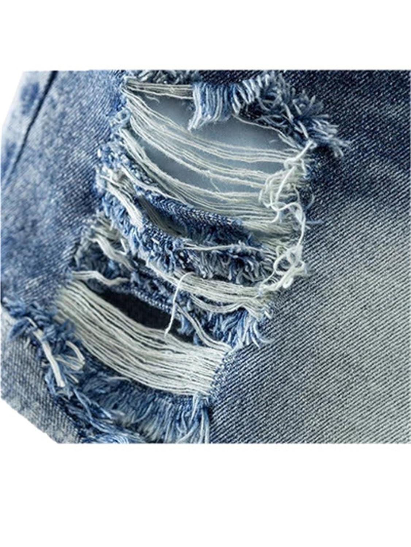 Alaimc Mando Women Fashion Holes Tassles Denim Shorts Buttons Crimping Short Jeans