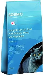 Marca Amazon - Solimo - Alimento seco completo para gatos adultos con salmón, atún y